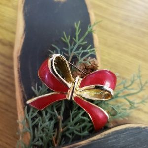 Vintage 1970's Red Enamel Bow Gold Tone